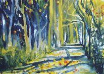 Wald weg herbst, Aquarell, Malerei, Herbstfarben