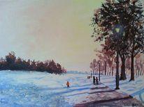 Straßenlaterne, Winter, Abend, Menschen