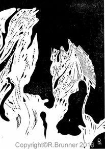 Grafik, Lino gravure, Schwarz weiß, Druckgrafik