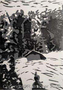 Landschaft, Winter, Schnee, Druckgrafik