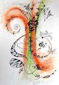 Leben, Kreidezeichnung, Schwung, Farben