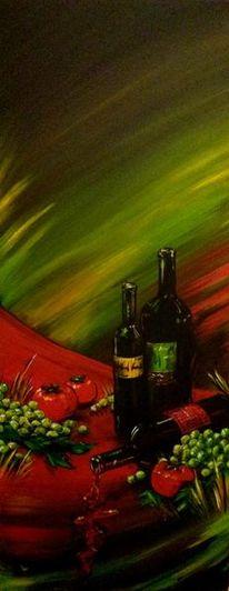 Auslese, Acrylmalerei, Weintrauben, Rotwein
