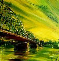 Brücke, Zug, Eisenbahnbrücke, Donau