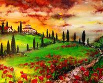 Weg, Blumen, Wolken, Acrylmalerei