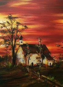 Kirche, Sonnenuntergang, Baum, Abend
