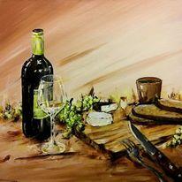 Wein, Bread, Messer, Traube