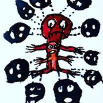 Augen, Außenseiter, Schmerz, Malerei