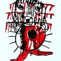 Irre, Blut, Vorsicht, Malerei