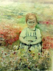 Kind, Rote haare, Bunt, Blumenwiese