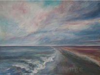 Strand, Himmel, Acrylmalerei, Wolken