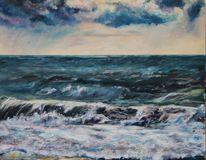 Acrylmalerei, Welle, Wolken, Himmel