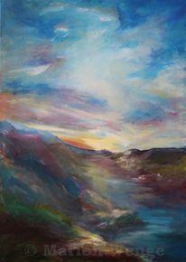 Acrylmalerei, Wolken, Himmel, Licht