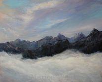Berge, Wolken, Himmel, Malerei