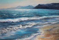 Sand, Küste, Berge, Malerei