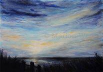 Malerei, Himmel, Sonnenuntergang, Wolken