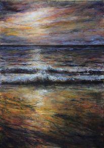 Wasser, Landschaftsmalerei, Abendrot, Stimmung