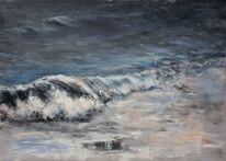 Acrylmalerei, Brandung, Wasser, Welle