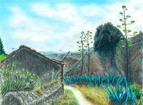 Gomera vulkan, Gomera, Zeichnungen, Vulkan