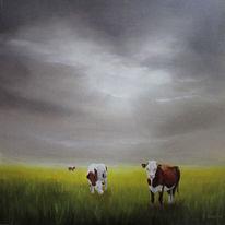 Landschaft, Gegenständlich, Kuh, Wolken