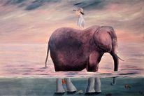 Elefant, Meer, Surreal, Mädchen