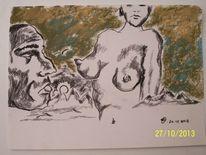 Akt, Sonne, Brust, Pastellmalerei