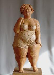 Frau, Figurativ, Ton, Skulptur