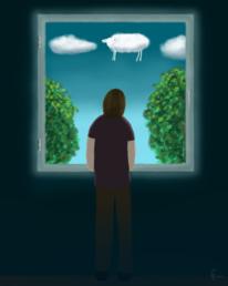 Mann, Digitales malen, Schaf, Wolken