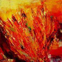 Experimentell, Acrylmalerei, Gold, Gelb