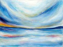 Meer, Morgenröte, Grau, Acrylmalerei