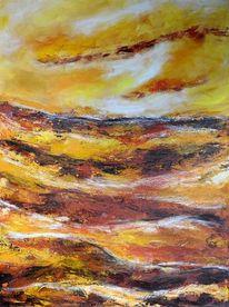 Sonne, Geborgen, Ölkreide abstrakt, Meer