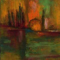 Lichtstrahlen, Zypressen, Acrylmalerei, Stimmung