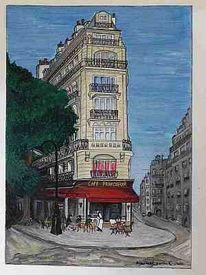 Paris, Stadt, Café, Aquarellmalerei