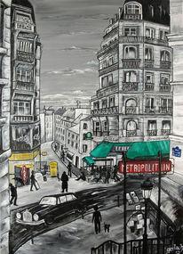 Straße, Metro, Paris, Acrylmalerei
