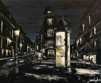Nacht, Frankreich, Acryl auf leinwand, Stadt