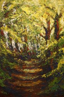Spaziergang, Gemälde, Blattgrün, Wärme