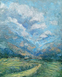Berge, Wolken, Weg, Landschaft
