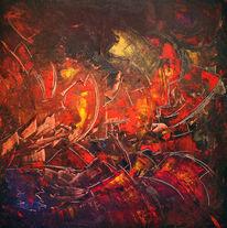 Blüte, Wildwuchs, Rot, Acrylmalerei