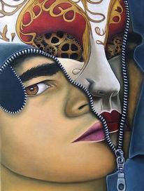 Zahnräder, Maske, Reißverschluss, Malerei