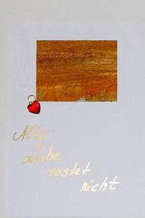 Herz, Rost, Collage, Karte