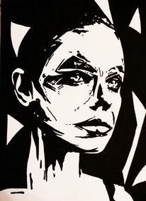 Portrait, Malerei, Acrylmalerei, Blick