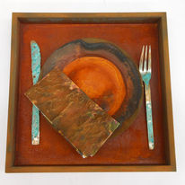 Dinner for one, Collage, Rost, Patina