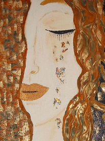 Klimt, Tränen, Collage, Rost