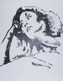 Frau, Acrylmalerei, Malerei, Nachdenklich