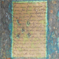 Collage, Worte, Patina, Mischtechnik