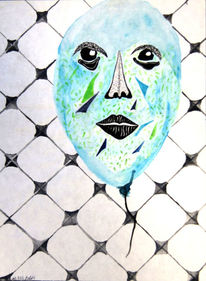 Ballon, Aquarellmalerei, Gesicht, Alt