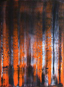 Abstrakt, Ölmalerei, Eis, Feuer