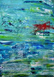 Fließen, Grün, Wasser, Blau