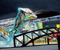 Schwebebahn, Nacht, Wuppertal, Malerei
