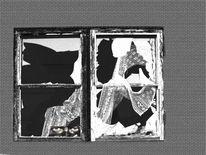 Fenster, Glasscherben, Gardine, Glasscheibe