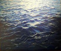 Welle, Blau, Wasser, Malerei